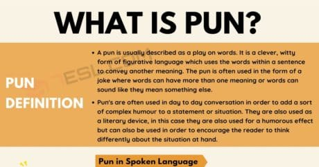 Pun: Definition and Examples of Pun in Speech and Literature