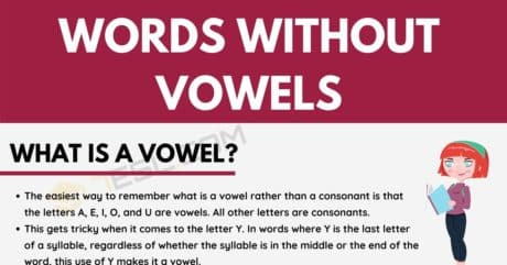 Words Without Vowels in English for ESL Learners