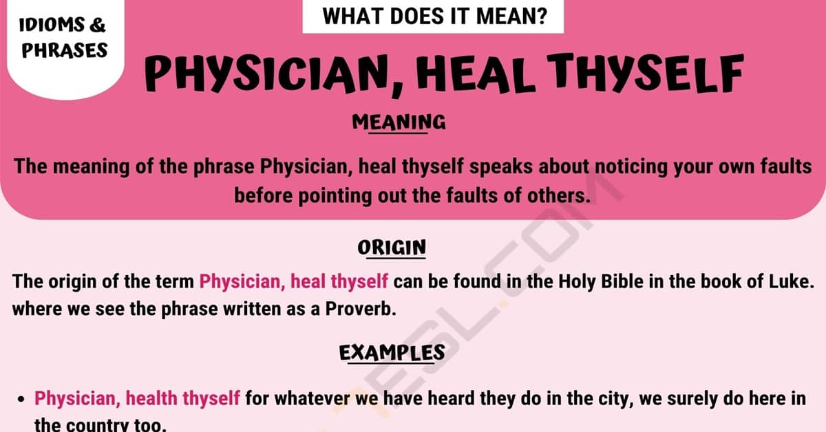 Physician, Heal Thyself