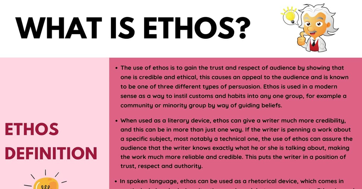 Ethos: Definition, Useful Examples of Ethos in Spoken Language & Literature 1