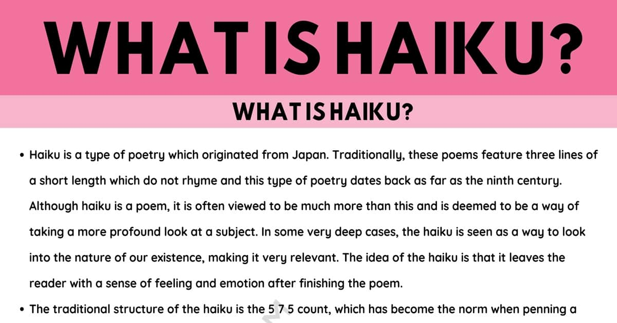 Haiku: Definition and Useful Examples of Haiku in the English Language 1