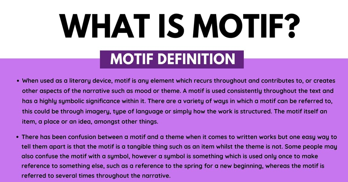 Motif: Definition and Examples of Motif in Speech & Literature 1