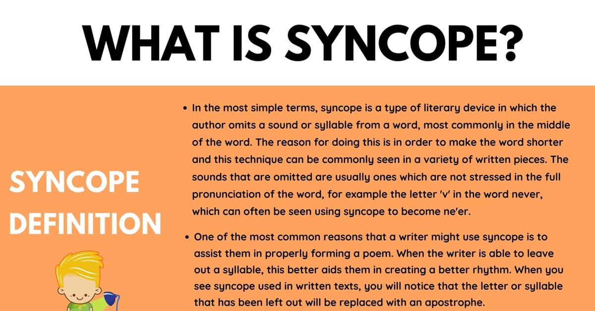 Syncope: Definition, Useful Examples of Syncope in Literature and Speech 1
