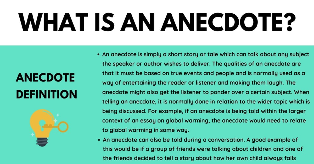 Anecdote: Definition and Useful Examples of Anecdote in English 10