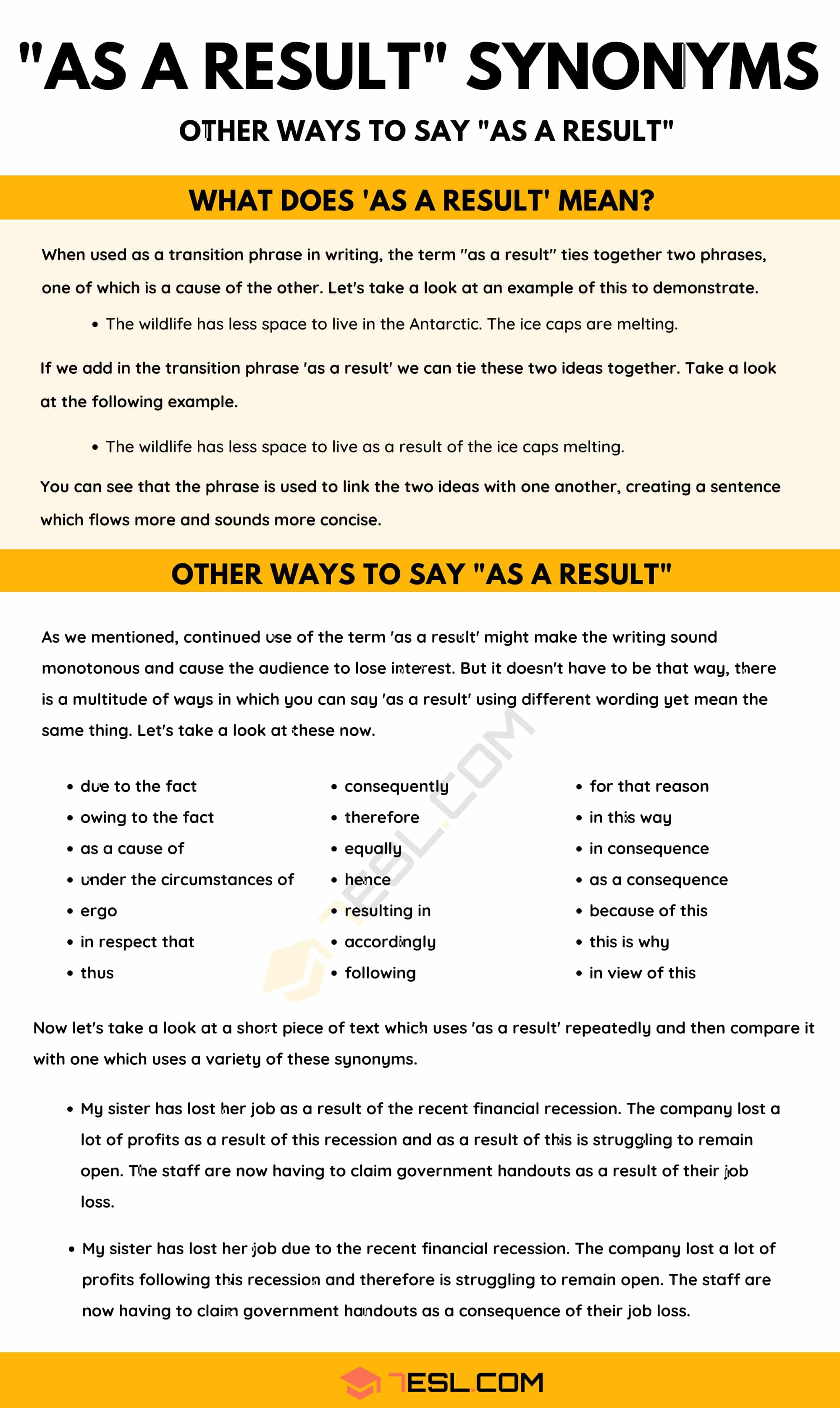 "As A Result Synonym: 20 Different Ways To Say ""As A Result"" with Useful Examples"