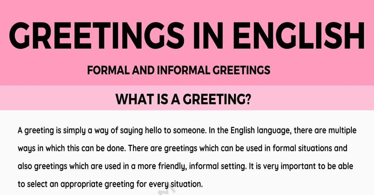 Greetings: Formal and Informal Greetings in English 1