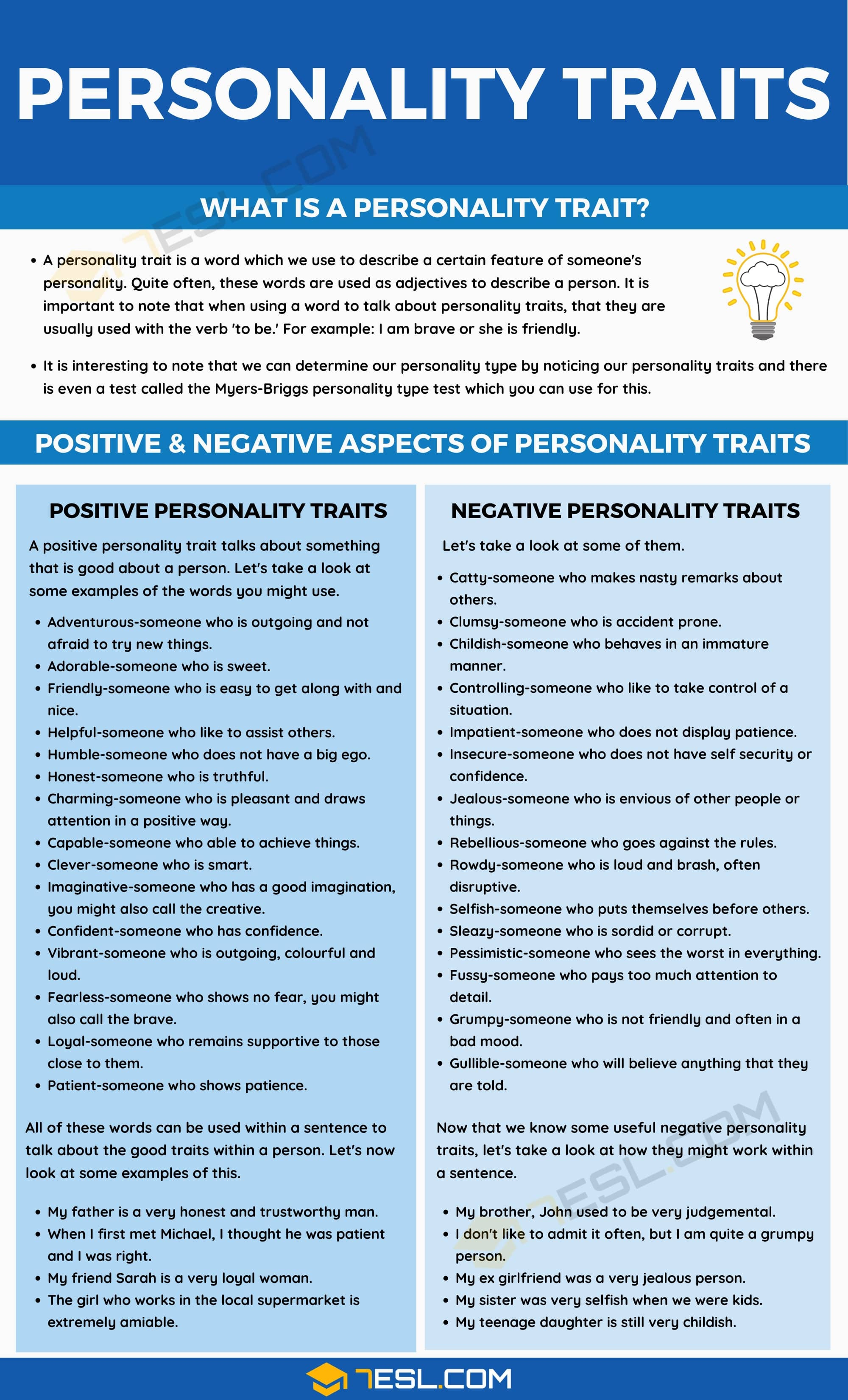 Words to describe someone's personality traits