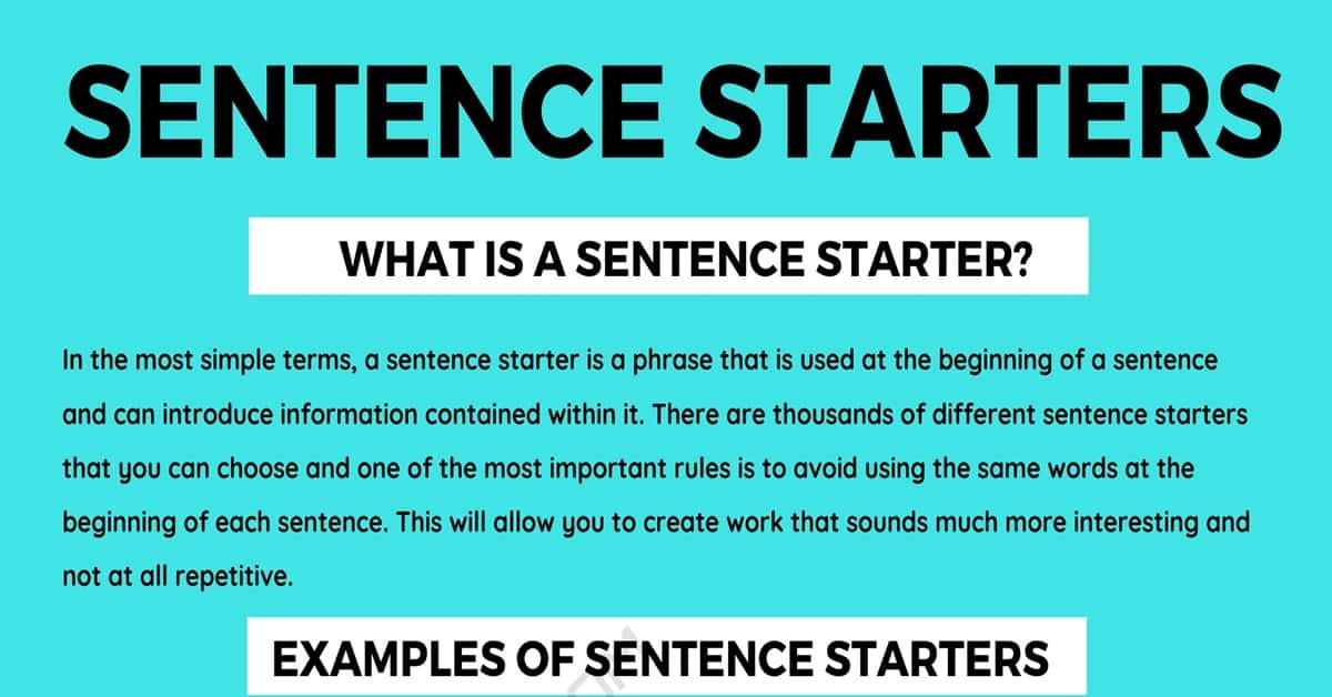 Sentence Starters: Useful Words and Phrases to Use As Sentence Starters 1