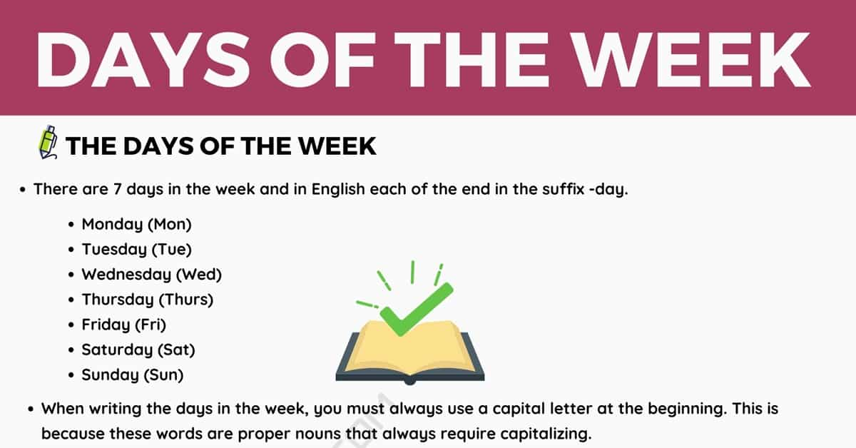Days of The Week in English with Useful Rules and Examples 1