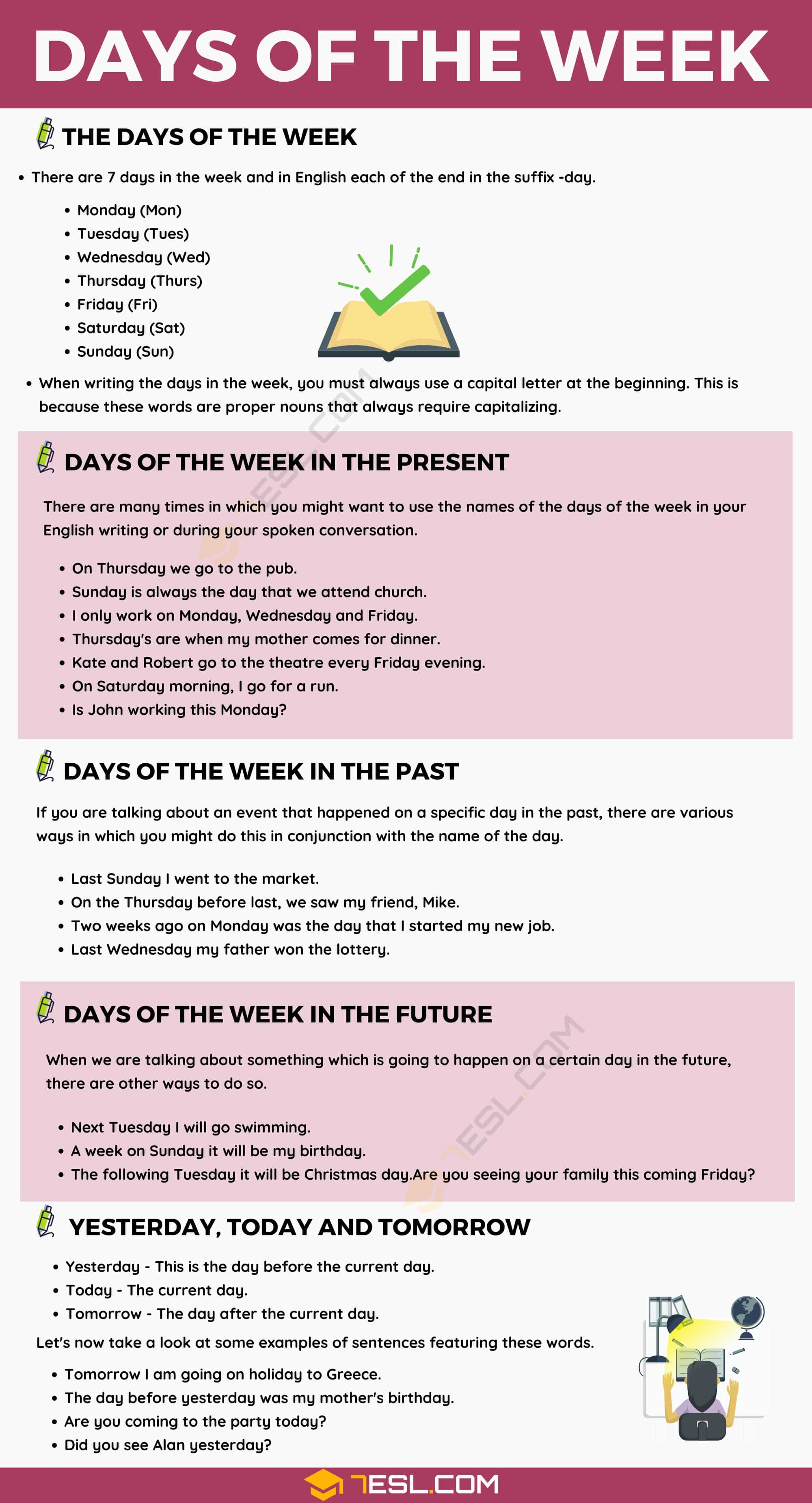 Days of The Week in English with Useful Rules and Examples