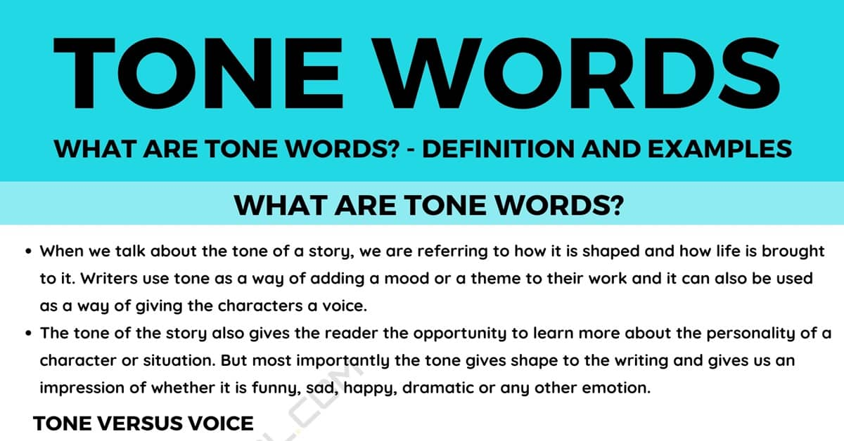 Tone Words: Definition and Useful Examples of Tone Words 1