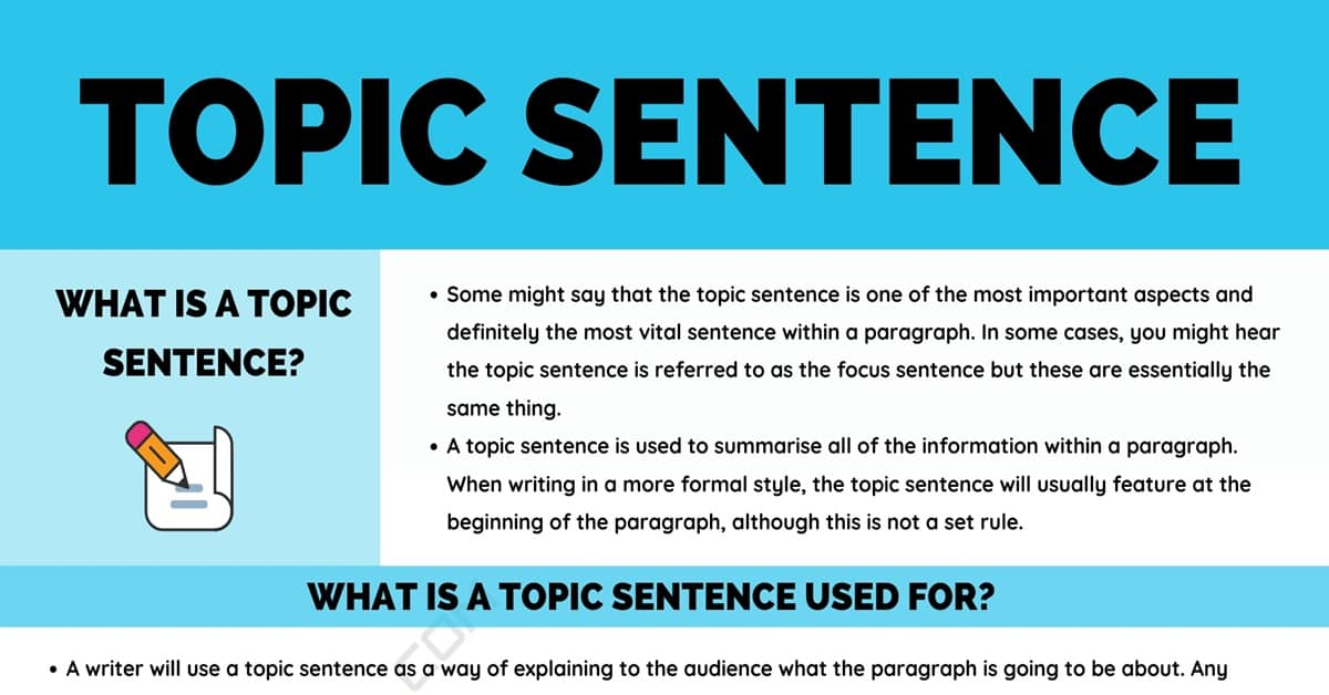 Topic Sentence: Definition, Examples and Useful Tips for Writing A Topic Sentence 1