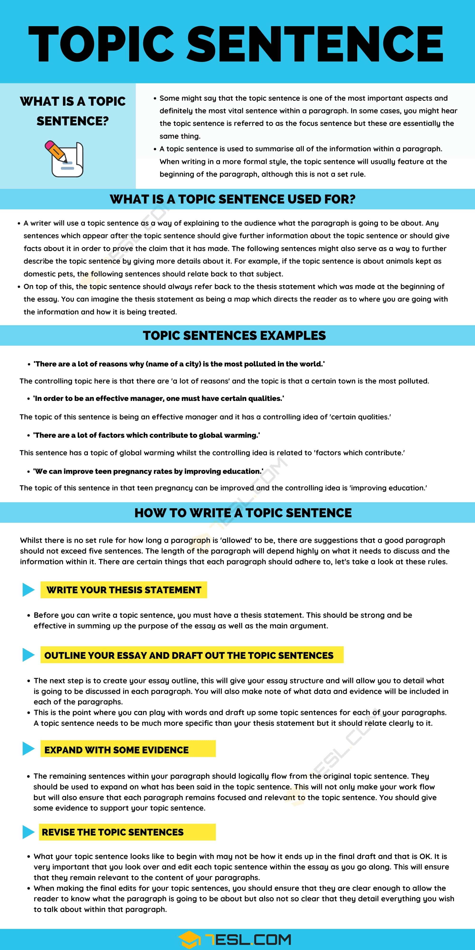Topic Sentence: Definition, Examples and Useful Tips for Writing A Topic Sentence