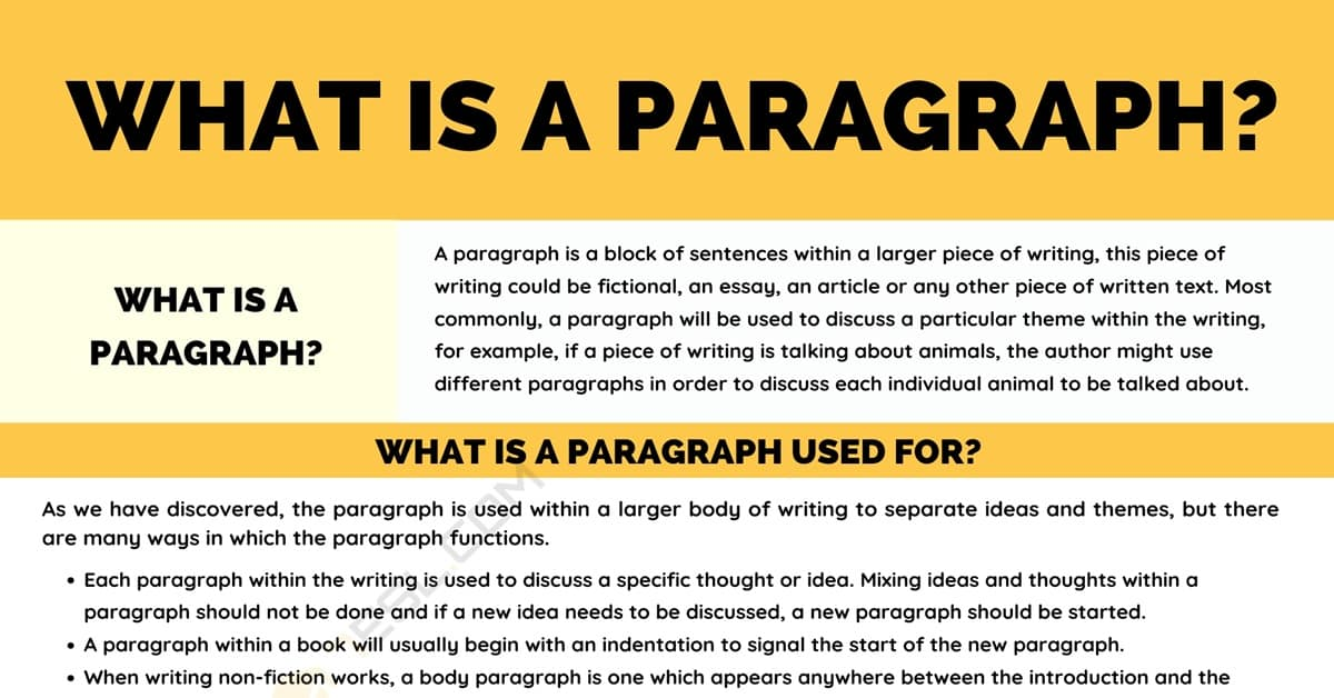 Paragraph: Definition, Structure and Useful Examples of Paragraphs 5