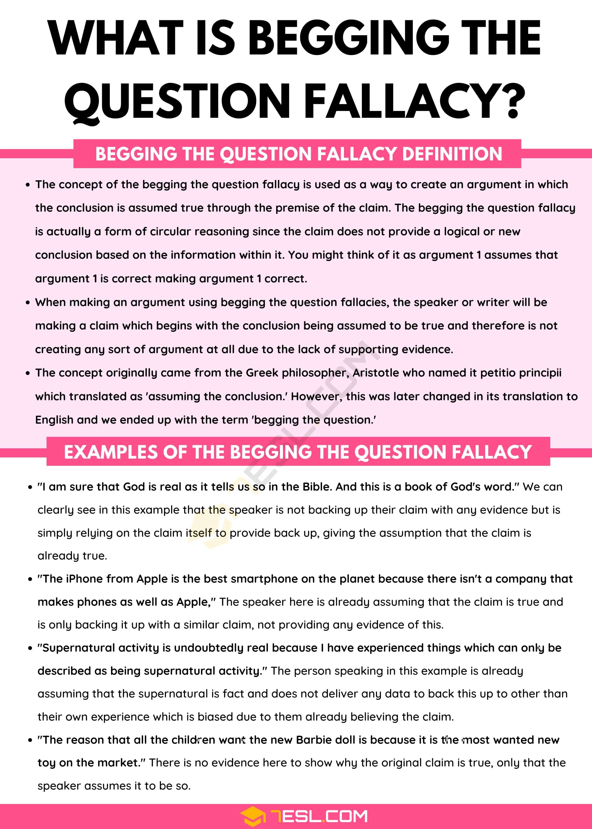 Begging The Question Fallacy: Definition and Useful Examples of Begging The Question Fallacy