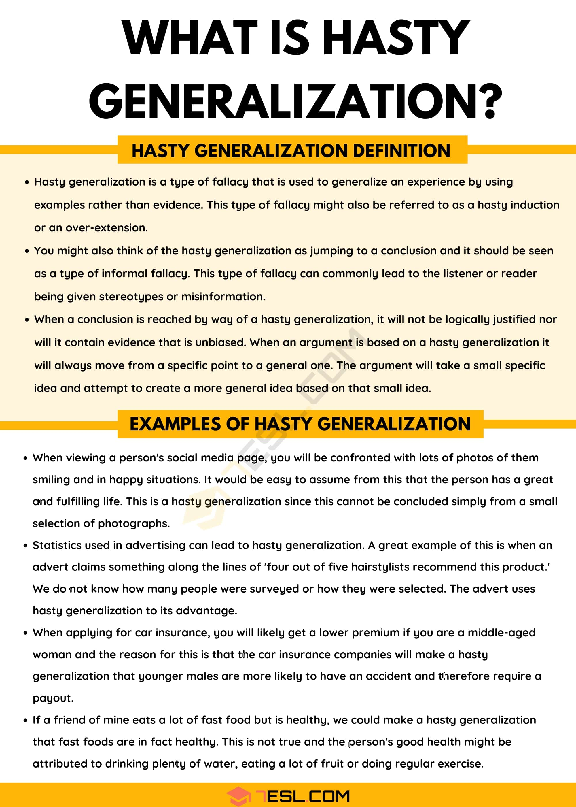 Hasty Generalization: Definition with Useful Examples of Hasty Generalization