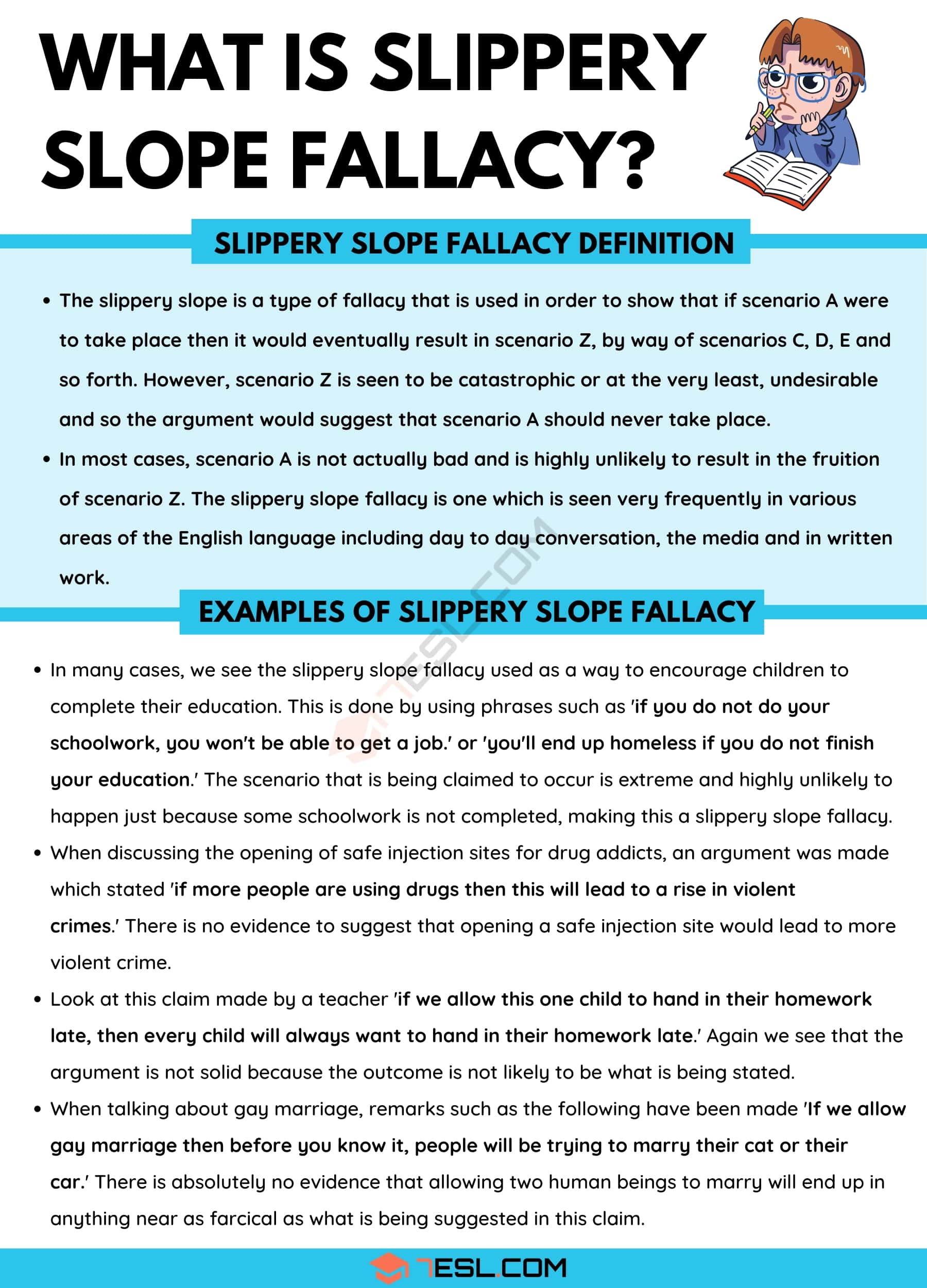 Slippery Slope Fallacy: Definition and Useful Examples of Slippery Slope Fallacy