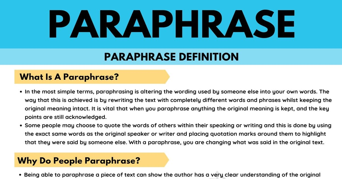 Paraphrase: Definition and Useful Examples of Paraphrasing in English 1