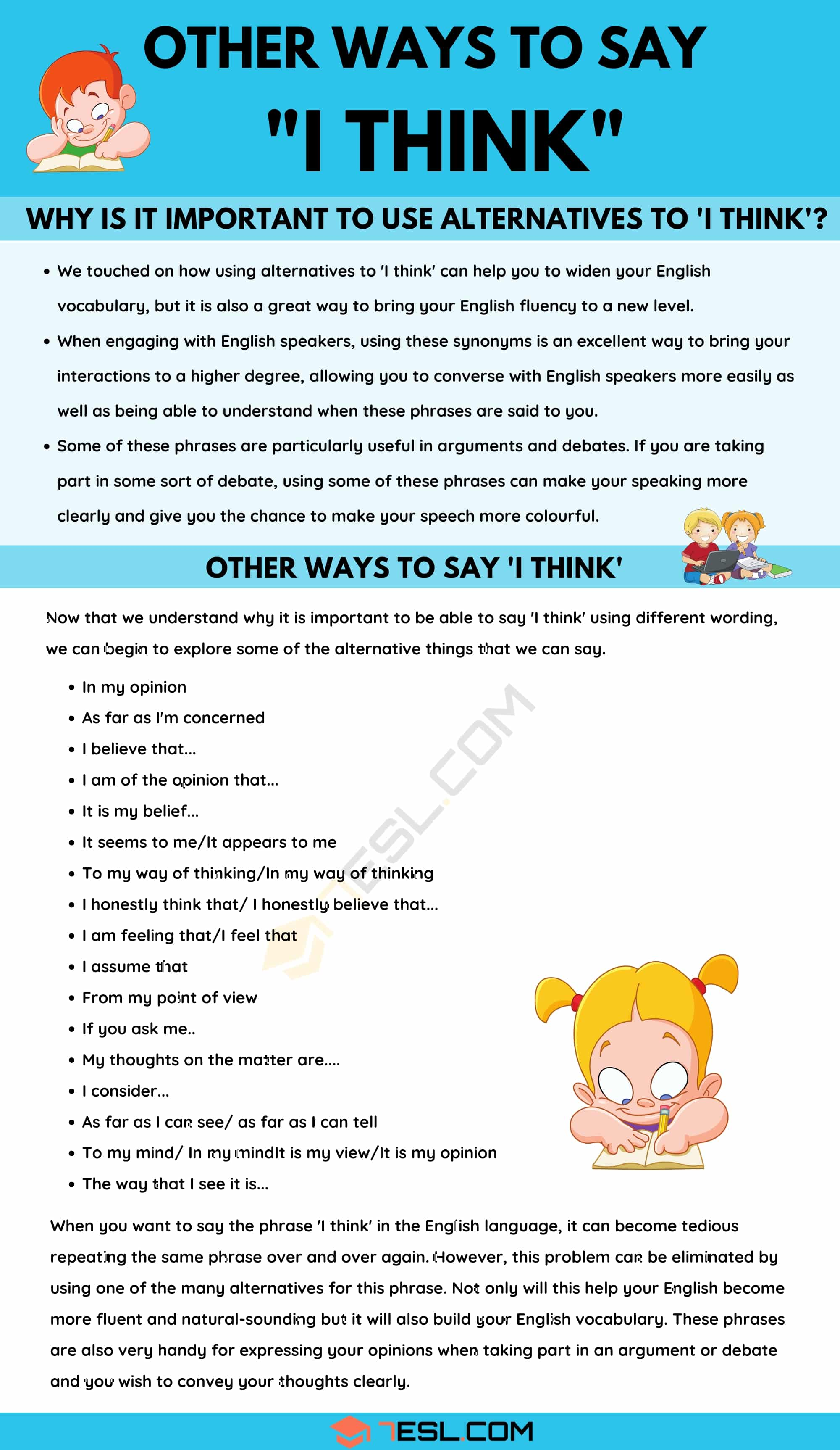 I Think: 18 Creative Ways To Say 'I Think' in English
