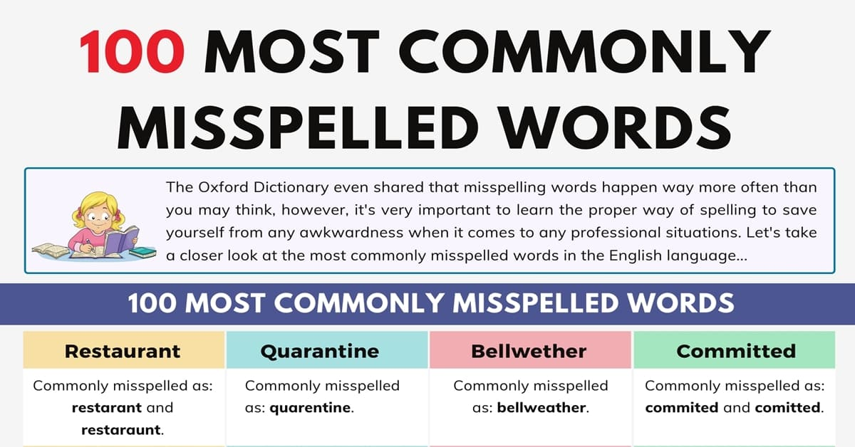 Top 100 Commonly Misspelled Words in the English Language 1