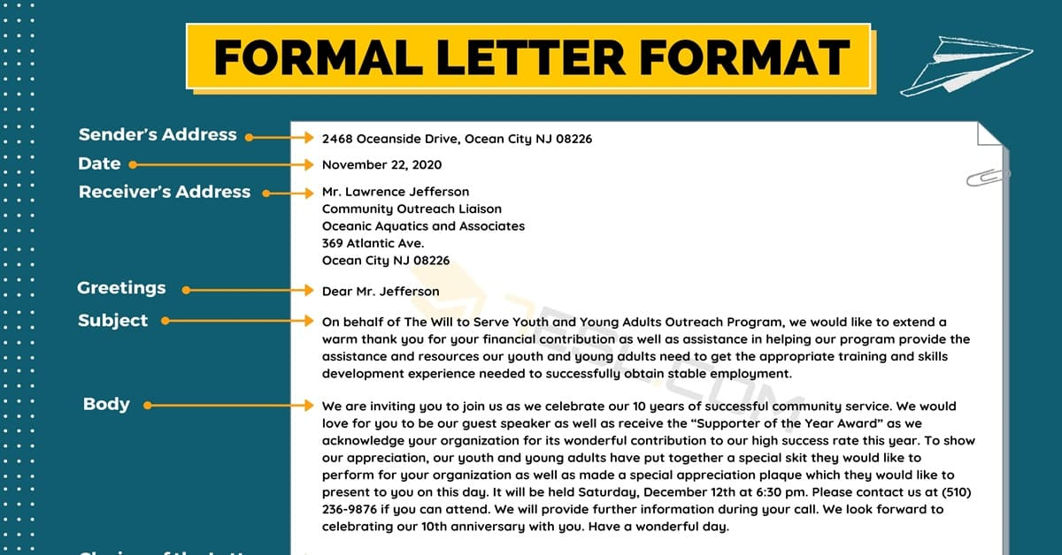 Formal Letter Format: Useful Example and Writing Tips 5