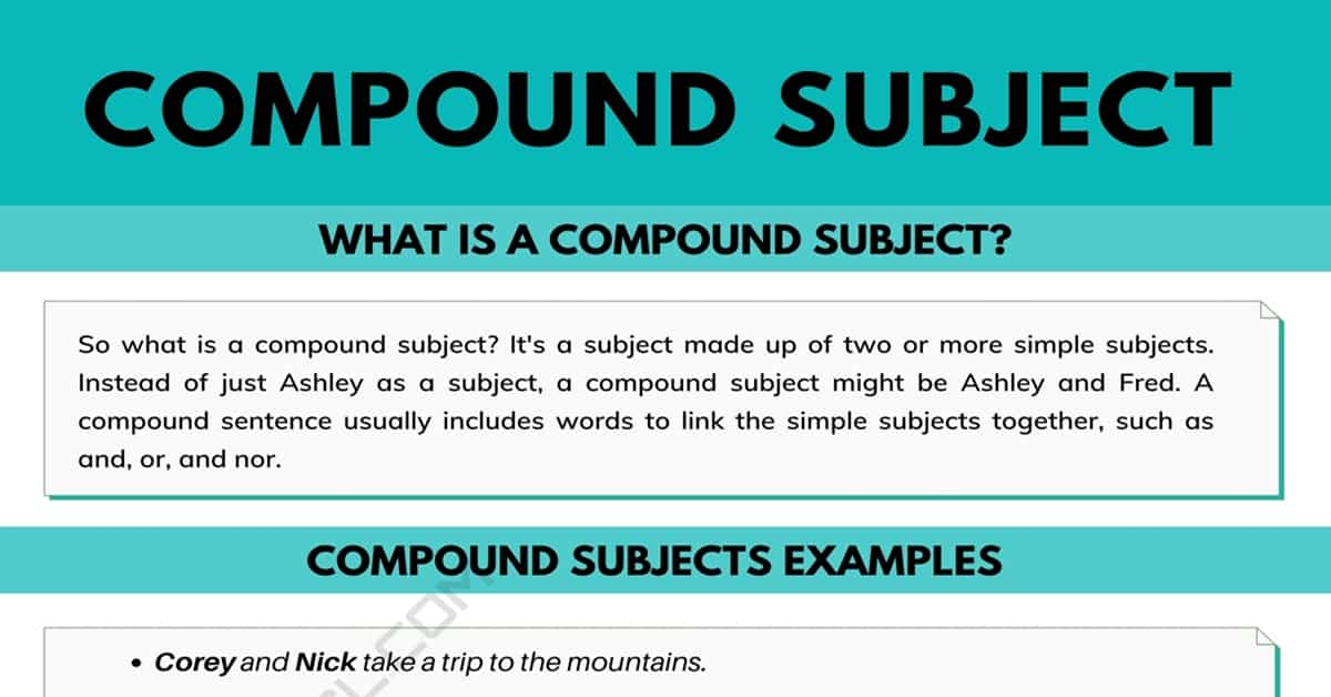 What Is A Compound Subject? Compound Subject Examples 1