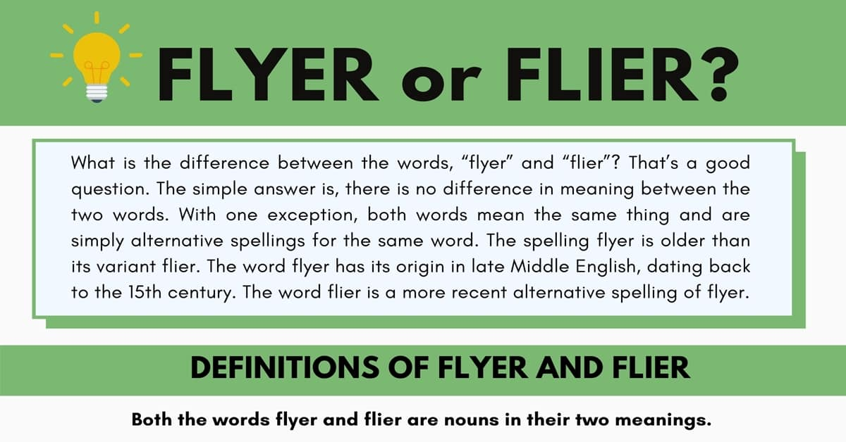Flyer or Flier | What's the Difference Between Flyer and Flier? 1