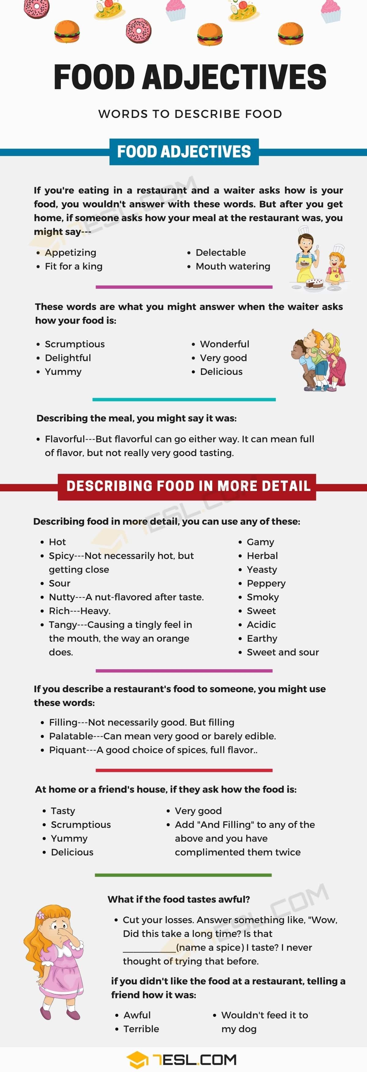 food adjectives