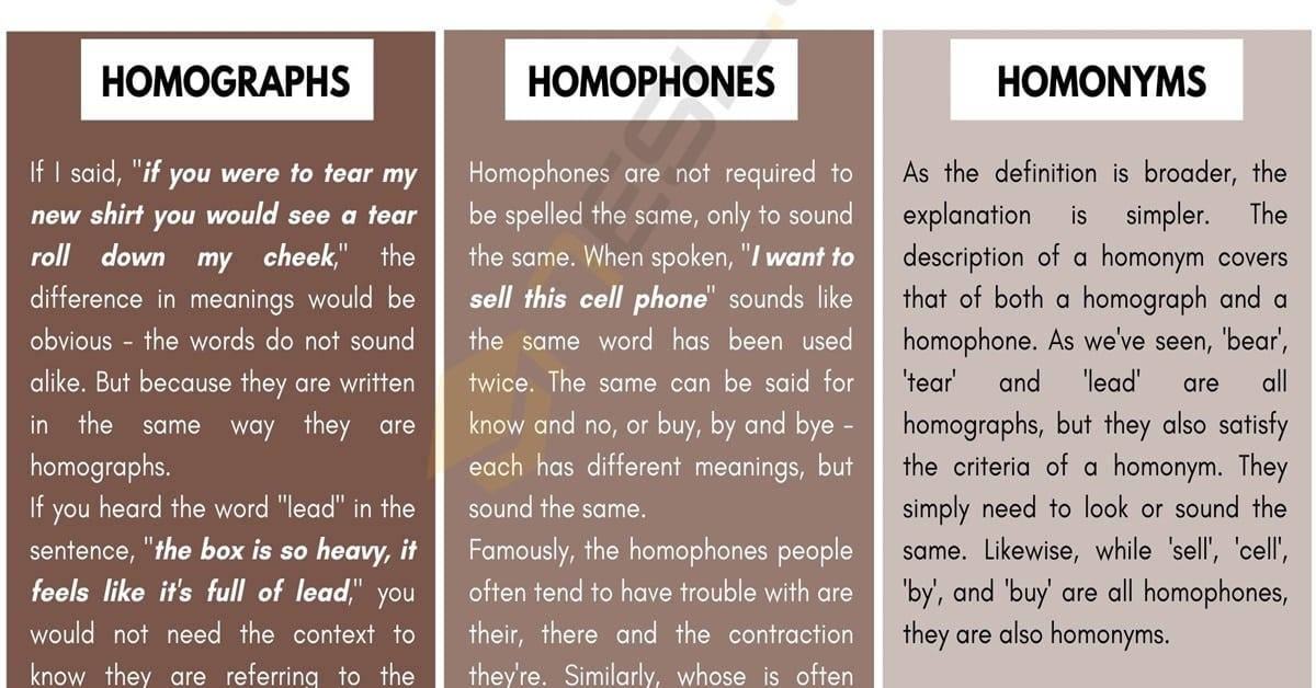 Homographs - Homophones - Homonyms
