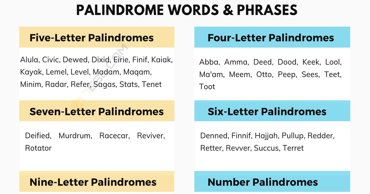 List of Interesting Palindrome Words & Phrases You're Sure to Love! 1