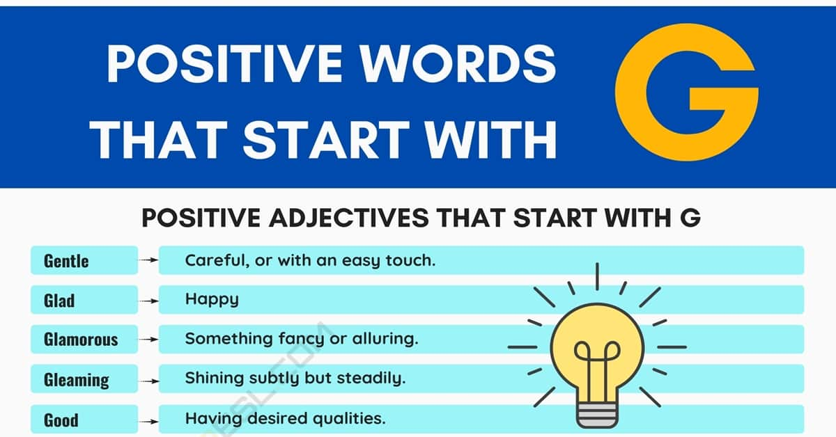 Positive Words that Start with G (Adjectives, Verbs, Nouns) 1