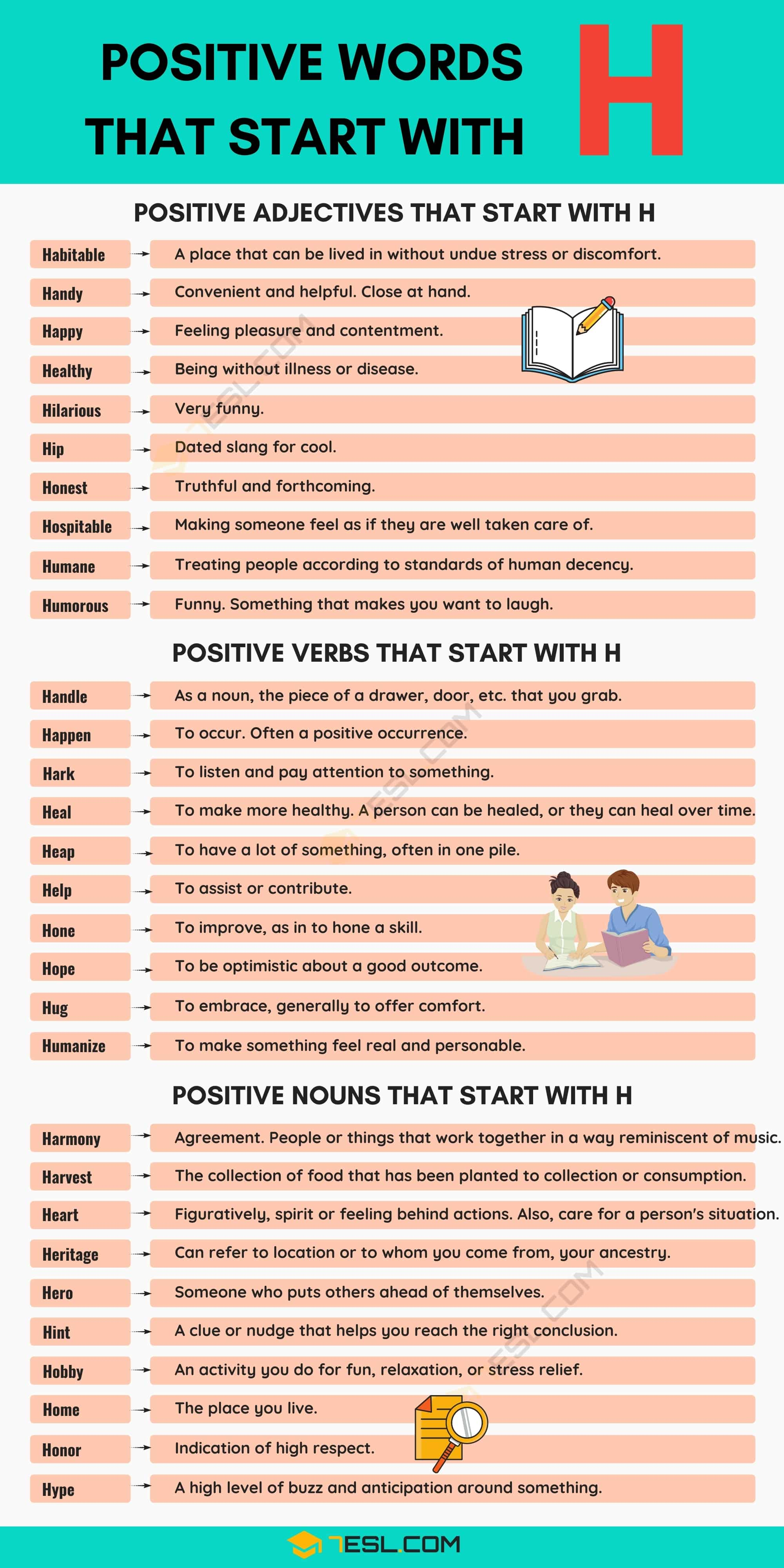Positive Words that Start with H with Useful Meanings & Examples