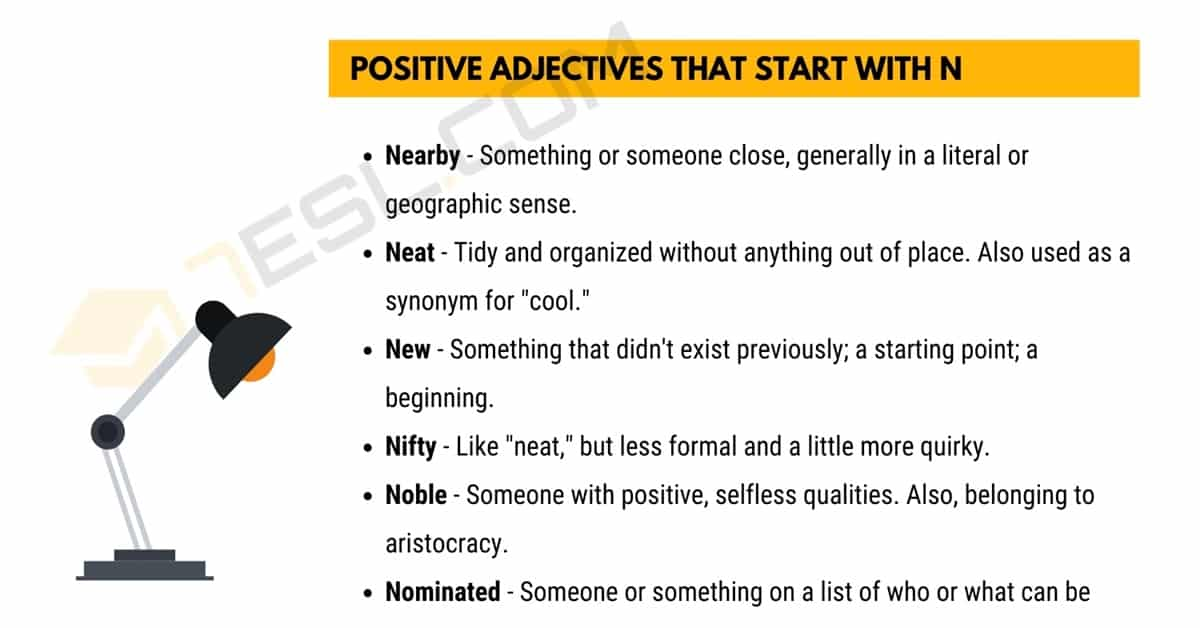Positive Words that Start with N (Adjectives, Verbs, Nouns) 1