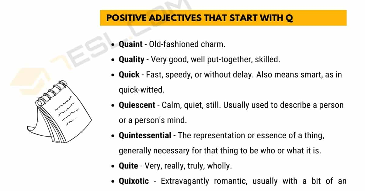 Positive Words that Start with Q (Adjectives, Verbs, Nouns) 1