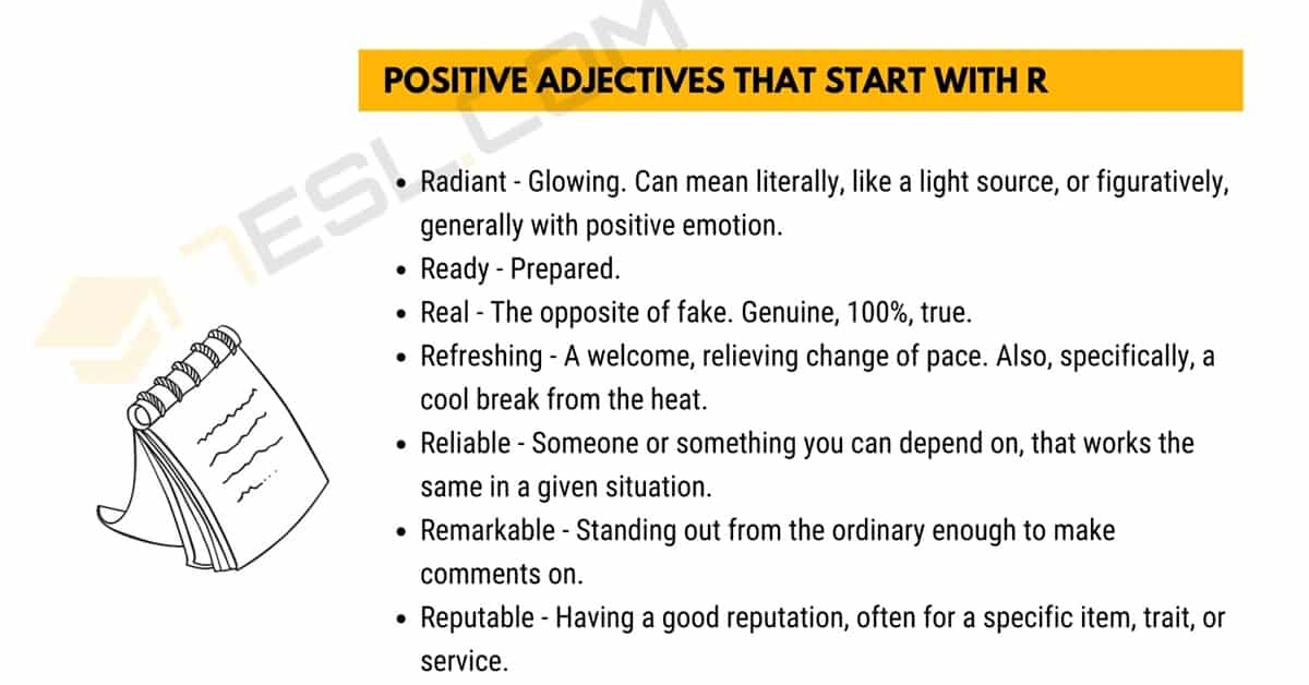 Positive Words that Start with R (Adjectives, Verbs, Nouns) 1