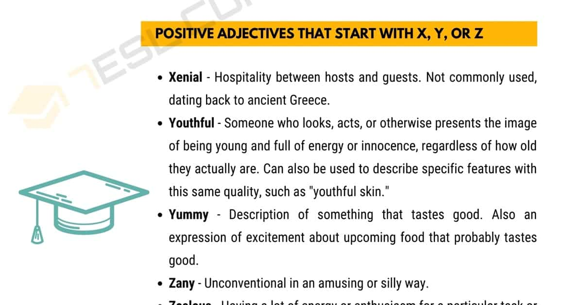 Positive Words that Start with X, Y, or Z (Adjectives, Verbs, Nouns) 3