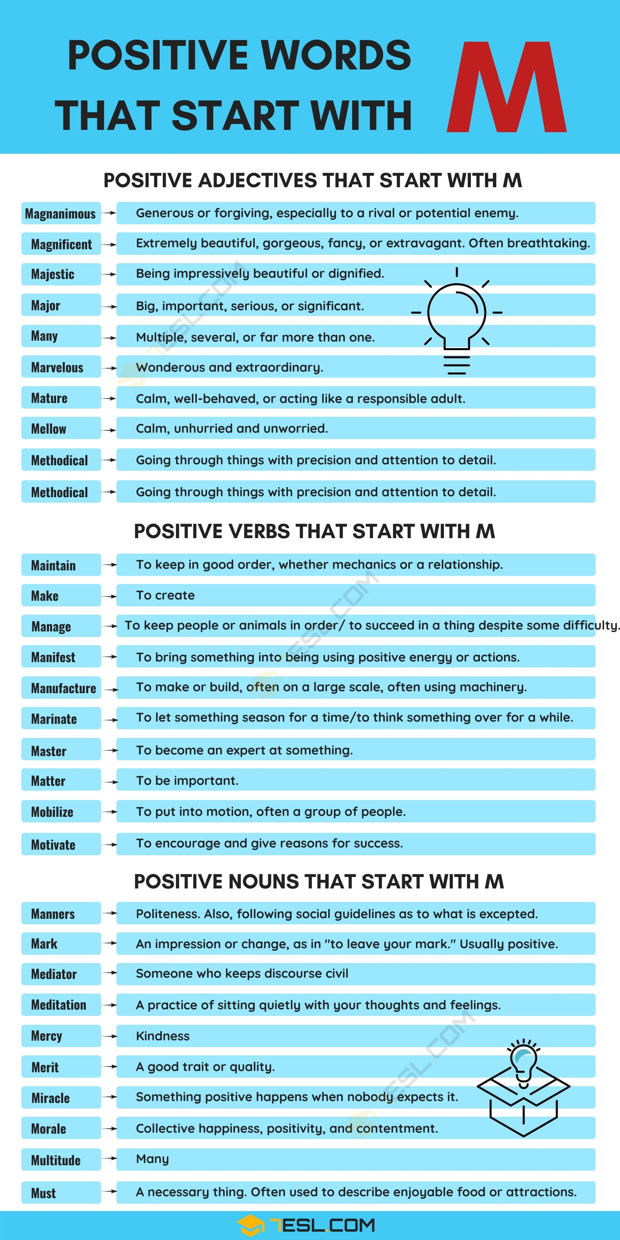 Positive Words That Start With M (Adjectives, Verbs, Nouns)