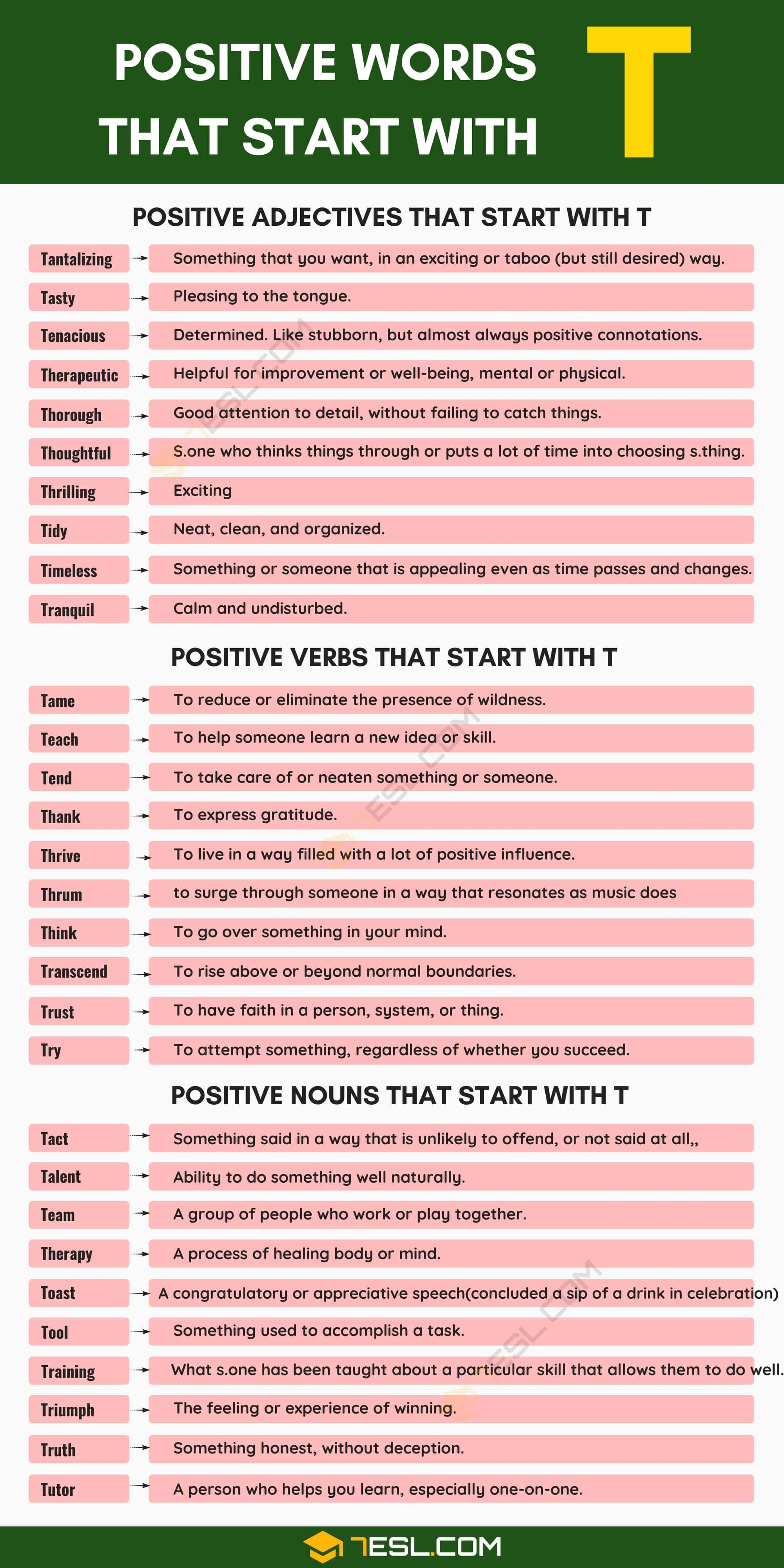 Positive Words that Start with T (Adjectives, Verbs, Nouns)