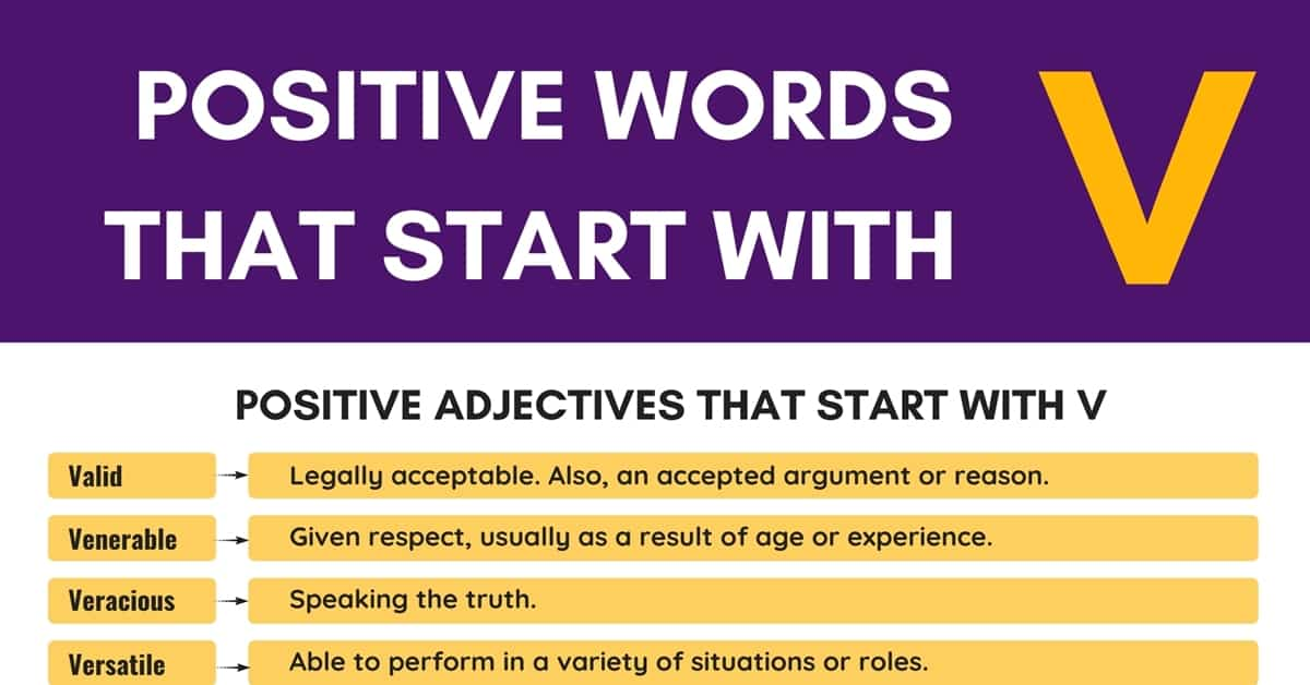 Positive Words that Start with V (Adjectives, Verbs, Nouns) 1