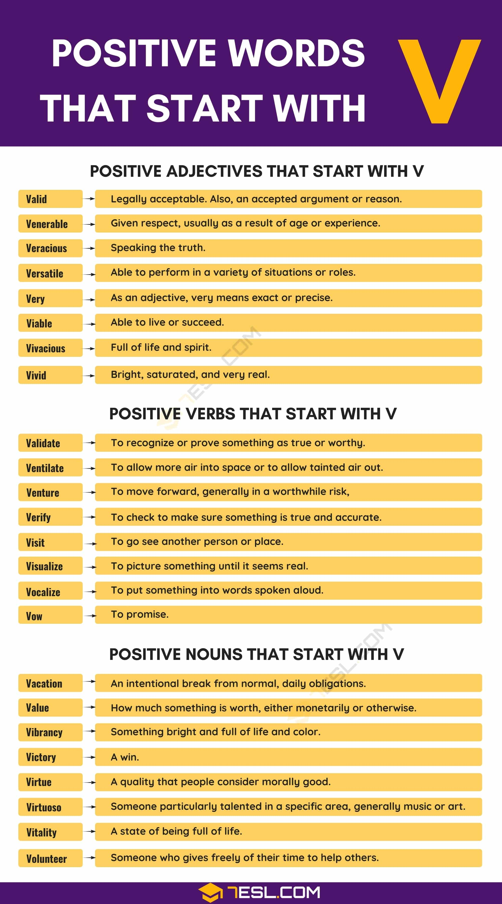 Positive Words that Start with V (Adjectives, Verbs, Nouns)