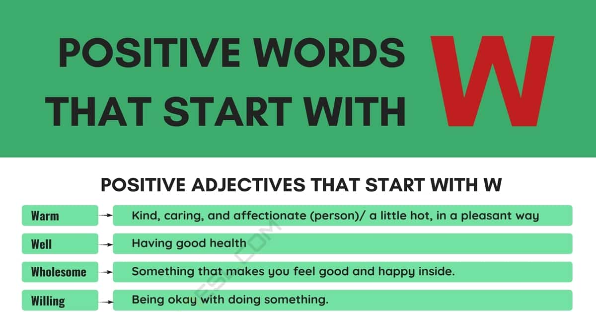 Positive Words that Start with W (Adjectives, Verbs, Nouns) 4