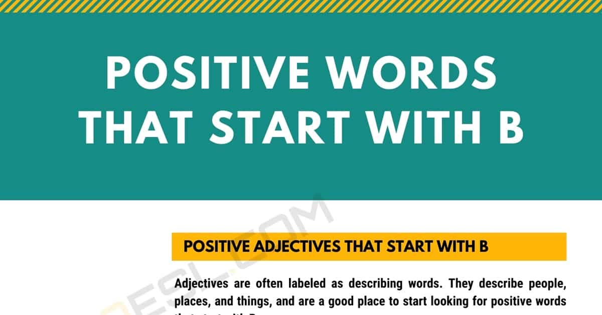 Positive Words that Start with B (Adjectives, Verbs, Nouns) 1