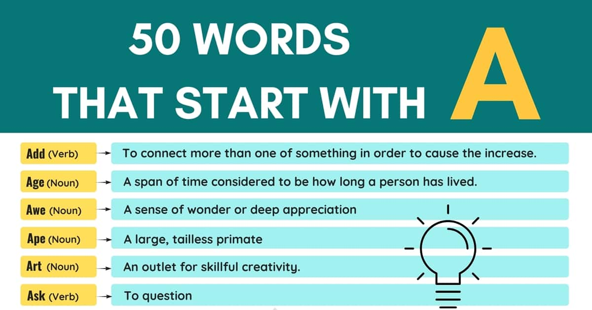 The 50 Most Common Words that Begin with A (with Meanings and Examples) 1