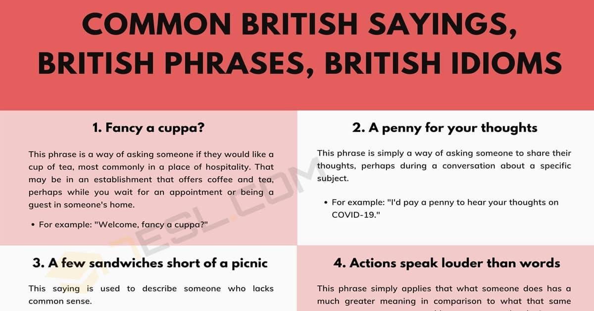 20 Common British Sayings, British Phrases, and British Idioms 1