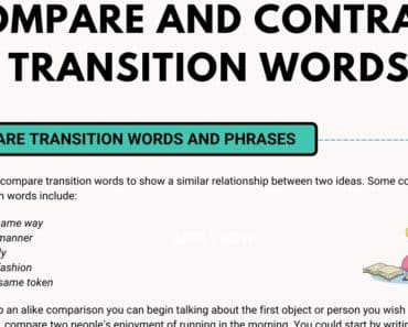 Compare and Contrast Transition Words in English 7
