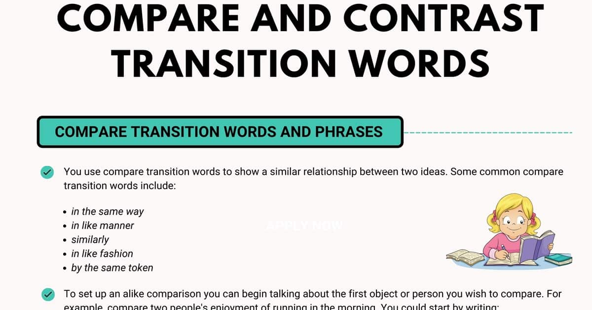 Compare and Contrast Transition Words in English 2
