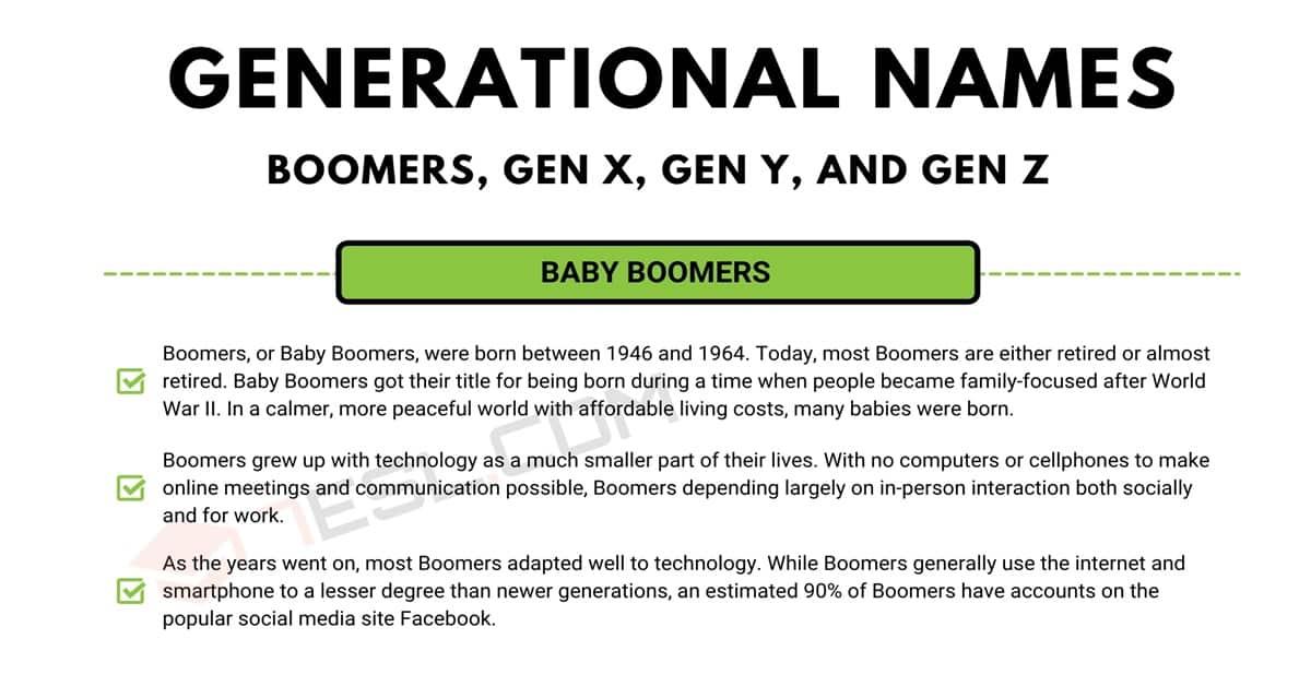 Generation Names: Defining Boomers, Gen X, Gen Y, and Gen Z Groups 1