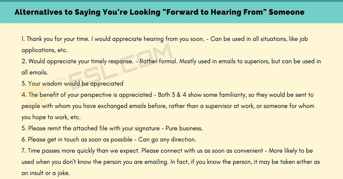 """50 Great Alternatives to """"I Look Forward to Hearing From You"""" 1"""