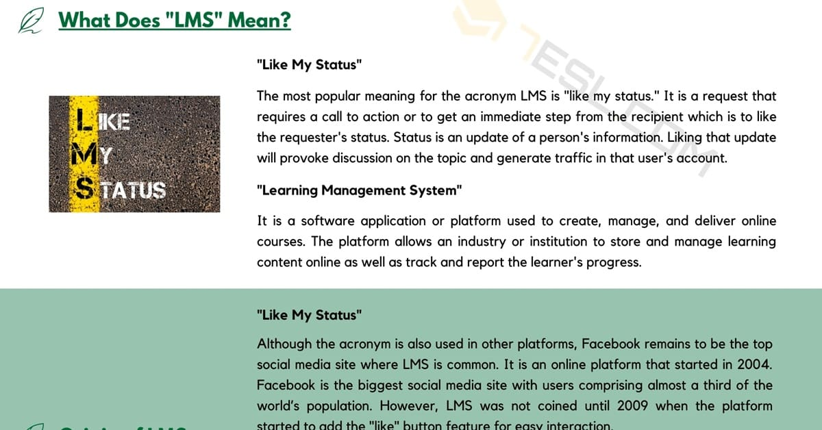 """LMS Meaning 