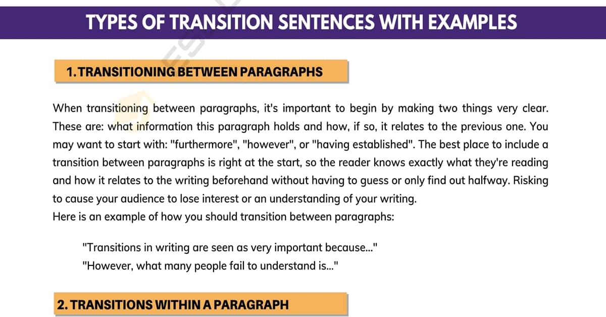 Transition Sentences: How to Use Them with Great Examples 1